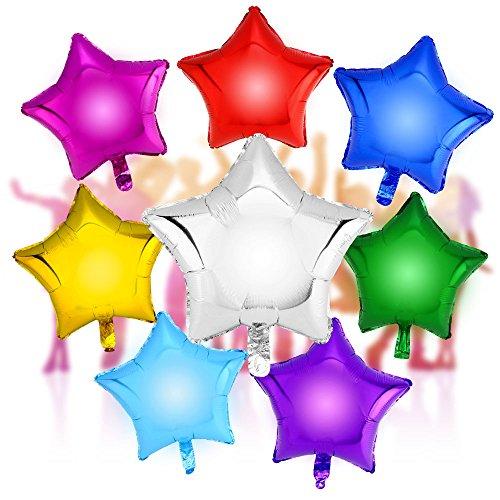 DekoRex® 8Stk Sternballons Heliumballon Sterne Folienballon Luftballon Zahlenballon mit Helium Flugfähig