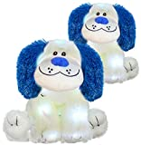 The Noodley Light Up Glow Puppy Dog Stuffed Animal LED Plush Sleep Toy for Toddlers, Kids, Boys & Girls, Valentines, Easter, Baby, White 16 inch 2 Pack