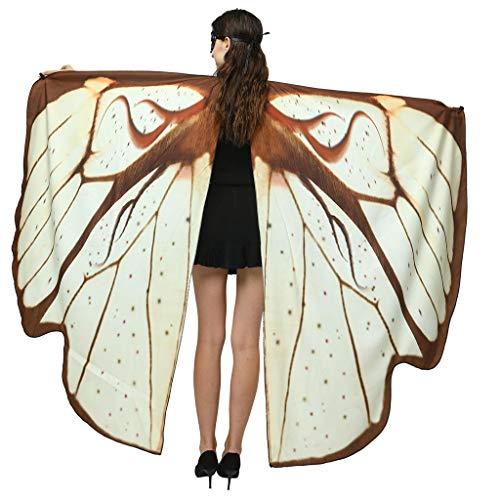 Lazzboy Frauen Schmetterlingsflügel Schal Cape Costume Accessory Schmetterling Kostüm Weiches Gewebe Schmetterlingsflügel Schal Fee Damen Nymph Pixie Zubehör Für Show/daily/party(Kaffee)