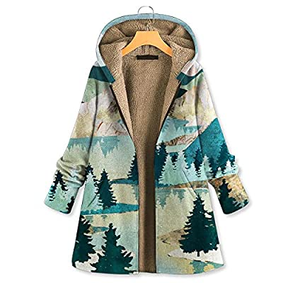 Amazon - Save 80%: Womens Winter Warm Outwear Floral Print Hooded Pockets Vintage…