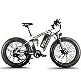 Extrbici eléctrica Bicicleta para Hombres 1000W 48V 26 Pulgadas Deportes al Aire Libre Adultos MTB Neumático Grande Tres Modos de conducción XF800(Blanco y Negro)