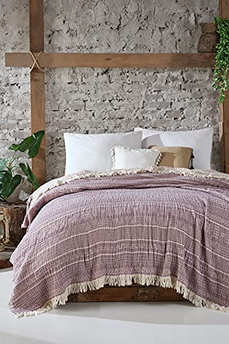 BOHORIA Colcha de muselina The Aztec Throw extra grande 220 x 240 cm | 100% algodón | Manta para sofá, sillón y cama | Manta para sofá manta de lana (The Aztec Throw) (Mahogany)