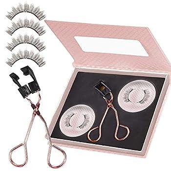 Magnetic Eyelashes Kit Glue-free Magnetic Eyelash Clip & Eyelashes Set with Soft False Eyelashes - Reusable Natural Look Eyelashes
