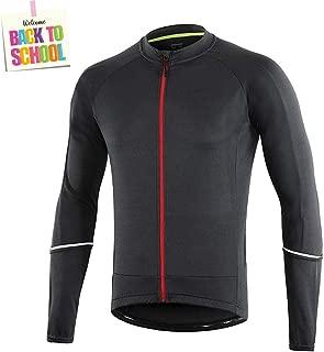 Dooy Men's Long/Short Sleeves Cycling Jersey, Reflective 3+1 Pockets Bike MTB Shirts,Breathable Biking Jacket for Running