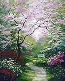 デジタル絵画 ピンクの枝道 - 油絵 数字キットによる絵画 塗り絵 手塗り DIY絵 デジタル油絵40x50 センチ (フレームレス)
