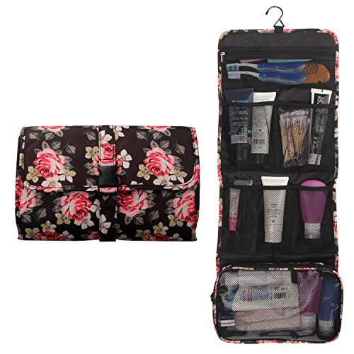 Hanging Toiletry Bag Travel Kit for Men and Women Waterproof Wash Bag Compact Makeup Organizer Bag Shaving Kit for Bathroom, Travel Accessories, Cosmetics, Shampoo, Body Wash (Flower Pattern)