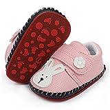 LAFEGEN Baby Boys Girls Walking Shoes Hard Bottom Non Slip PU Leather Outdoor Sneaker Infant Carton Slipper Toddler First Walker Crib Shoes(3-18 Months), 01 Pink Rabbit, 3-6 Months Infant