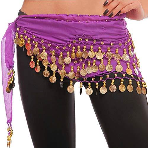 The Turkish Emporium - Meravigliosa Nuova Cintura/Stola/Sciarpa con Monete Scintillanti, Accessorio per Costume Danza del Ventre, Colore: Viola