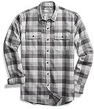 Amazon Brand - Goodthreads Men's Slim-Fit Long-Sleeve Plaid Herringbone Shirt, Medium Grey Heather, Medium