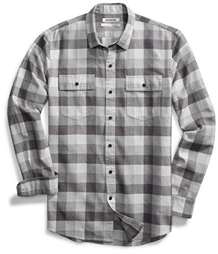 Goodthreads Slim-Fit Long-Sleeve Tri-Color Buffalo Plaid Herringbone Shirt Hemd, Medium Grey Heather, Large