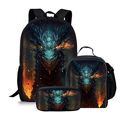Amzbeauty Cool Dragon Backpack with Lunch Bag Pencil Case, 3 Pcs Bookbags Sets, Best Gifts for school children/Kids/Boys/Girls