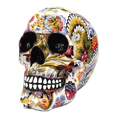 BESTOYARD Decoração de caveira de Halloween com impressão de transferência de água, brinquedo de terror novidade paródia de comédia humano, enfeite de cabeça de crânio de resina para artigos de festa de Halloween