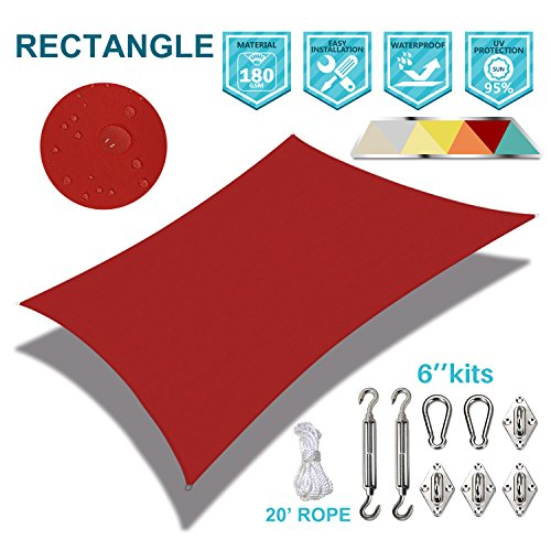 Coarbor Waterproof 10'x13' Customized Sun Shade Sail Canopy Came with Hardware Kit Rectangle UV Block Polyester for Pergola Carport Awning Patio Yard- Make to Order-Red