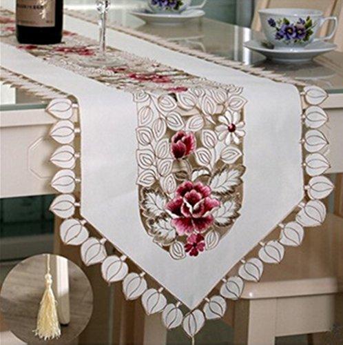 Ustide - Tapete de mesa bordado en flores, mantel de mesa blanco con borlas, mantel de servilleta. Duradero, lavable, de poliester. Decoracion de mesa para comedor/mesa de cafe, poliester, multicolor, 15.75\x69.29\