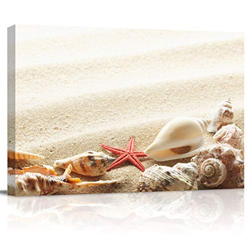 zzsunfeel Canvas Oil Painting Wall Art Beach Sea Star Seashell Picture Prints for Living Room Home Decor, Ready to Hang Summer Decor - 12x16 inches