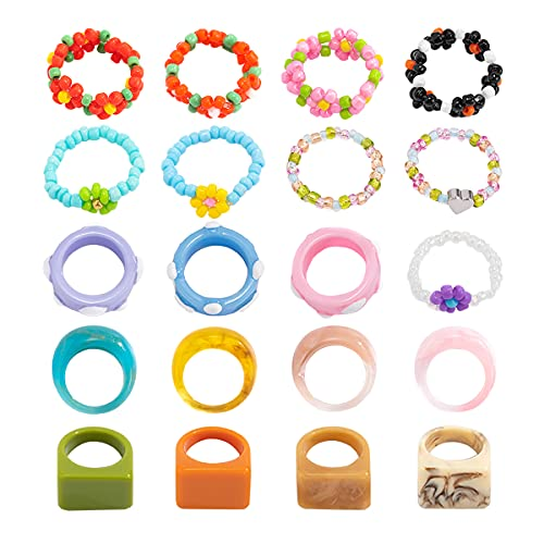 20PCS Chunky Resin Rings for Women Trendy Acrylic rings for Teen Girls Y2k Colorful Beaded Flower Rings for Beach