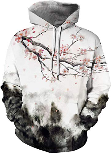 TAKUSHI HF Unisex 3D Cartoon Cosmic Galaxy Printed Pullover Hoodies Hooded Sweatshirts for Sport and Party(Plum Blossom,L/XL)