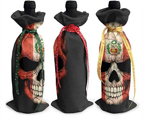 Peru Fahne Totenkopf Wein Tragetasche Tragetasche Geldbörse für Reisen, Camping und Picknick, 3er Set
