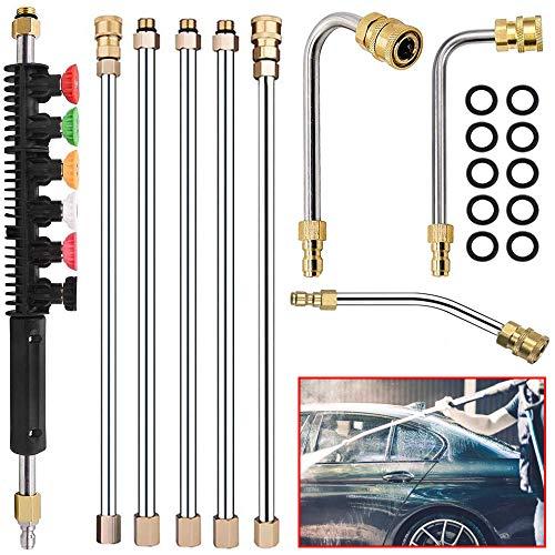 ZAMDOE 6Stck Hochdruckreiniger Verlängerungsstab Set 4000PSI 1/4 Inch Schnelle Verbindung 8 ft mit 6PCS Hochdruckreiniger Düse Tipp(0、15、25、40、65°), 10PCS O-Ring, 3PCS Gebogener Zauberstab(30、90、120°)