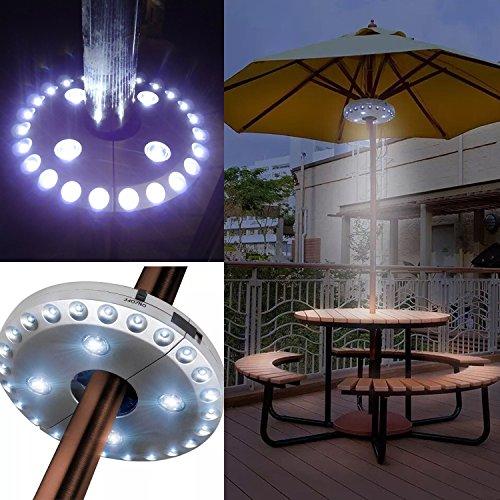 Regenschirm-Lichter, für Sonnenschirme, kabellose Lampe, mit 24+ 4LEDs, Campingzelte, für Außeneinsatz, Silber