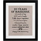 20th Anniversary Love Birds Burlap Print with Frame, 20 Year Wedding Anniversary Gifts, 20th Anniversary Gifts...