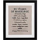20th Anniversary Love Birds Burlap Print with Frame, 20 Year Wedding Anniversary Gifts, 20th Anniversary Gifts for Couple, 20th Anniversary Gift for Wife