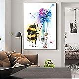 ganlanshu Pintura sin Marco Arte de la Pared Pintura Animal Figuras Pintura al óleo Artista de la Pared decoración del hogar sobre Lienzo ZGQ3821 60X80cm