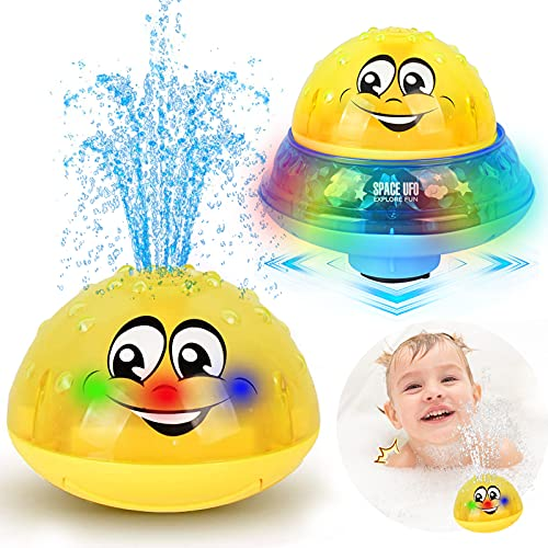 ZHENDUO Bath Toys, 2 in 1 Induction Spray Water Toy & Space UFO Car Toys with LED Light Musical, Automatic Sprinkler Bathtub Toys Light Up Bath Toys for Kids Toddlers