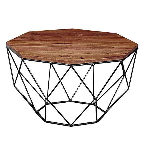 FineBuy Couchtisch Sheesham Massivholz/Metall 66 x 40 x 66 cm | Wohnzimmertisch Massiv Braun | Sofatisch Modern Holztisch | Tisch Wohnzimmer Industrial