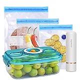 Aigostar Fresh - Pack 3 productos: mini bomba de vacío portátil, bolsas y recipientes para envasar al vacío. Envasador al vacío recargable por USB, conserva la comida durante días.