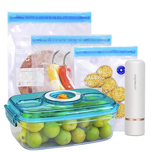 Aigostar Fresh - Pack 3 productos: mini bomba de vacío portátil, bolsas y recipientes para envasar al vacío, Envasadora al vacío recargable por USB, conserva la comida durante días