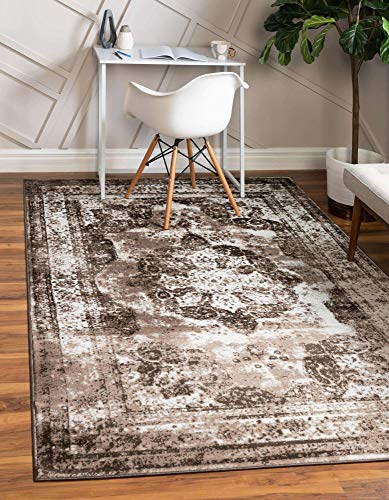 Unique Loom Sofia Collection Area Traditional Vintage Rug, French Inspired Perfect for All Home Décor, 5' 0 x 8' 0 Rectangular, Dark Brown/Light Brown