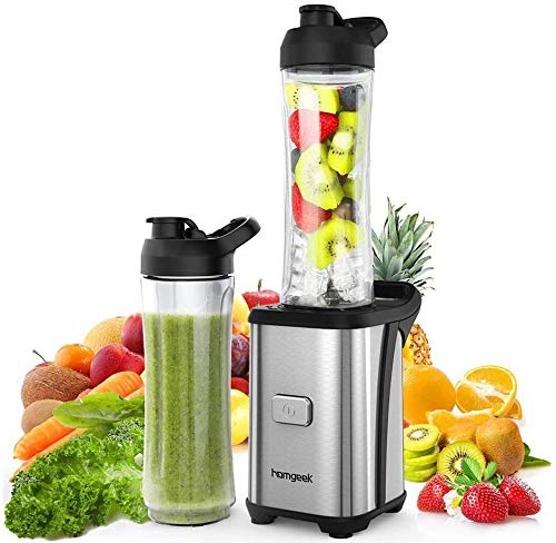 Personal Mini Blender Smoothie Maker Single Service for Shakes and Smoothie, homgeek Portable Small Fruit Vegetable Milk Countertop Mixer Juicer Cup with Travel Lid 600ml Tritan Travel Sport Bottle