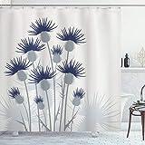ABAKUHAUS Distel Duschvorhang, Gartenarbeit-Thema-Blumen, mit 12 Ringe Set Wasserdicht Stielvoll Modern Farbfest & Schimmel Resistent, 175x180 cm, Blasses Salbeigrün Hellgrau & Indigo