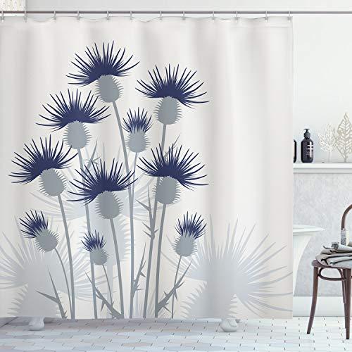 ABAKUHAUS Distel Duschvorhang, Gartenarbeit-Thema-Blumen, mit 12 Ringe Set Wasserdicht Stielvoll Modern Farbfest & Schimmel Resistent, 175x200 cm, Blasses Salbeigrün Hellgrau & Indigo
