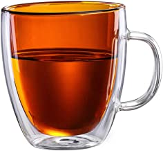 Double Wall Glass Coffee Mug 375ml/13oz, Amber brown Colored Inner Insulated Glass Cups with Handle Insulated Coffee Mug,Glass Cappuccino Cups,Espresso Cups,Beverage Glass