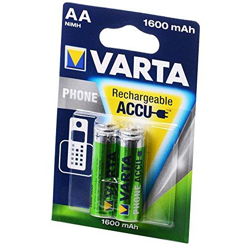 Varta Akku Phone Accu Mignon AA 1600 mAh HR6, 2er Blister, 58399, 1, 2 Volt