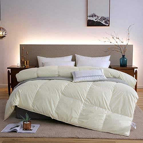 Pure Cotton Duvet for 1 Person and 2 Persons, White Goose Down Winter Duvet Thickened Quilt-Cream Color_180 220cm/71 87'/8.8LB