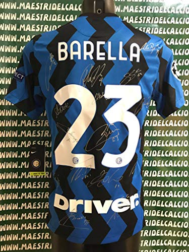 """MAESTRI DEL CALCIO Maglia Gara Home Champions League """"Barella 23"""" Autografata F.C. Inter 2020/2021 Firmata Firme Giocatori"""