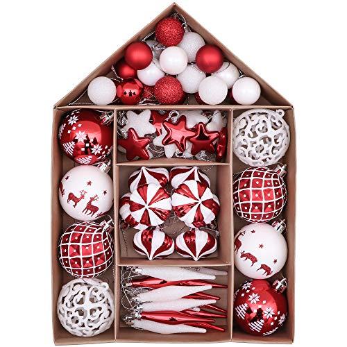 Victor's Workshop 70 Pezzi di Palline di Natale, 3-6 cm Tradizionali Ornamenti di Palle di Natale Infrangibili Rossi e Bianchi per la Decorazione Dell'Albero di Natale