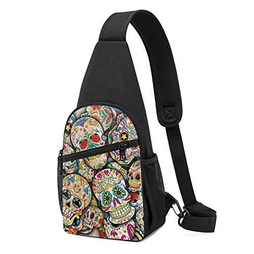 Sling Bag für Frauen Anti-Diebstahl Schulter Rucksack Tag die Toten Sugar Skull Muster Brusttaschen Verstellbare Crossbody Leicht Daypack Outdoor & Gym