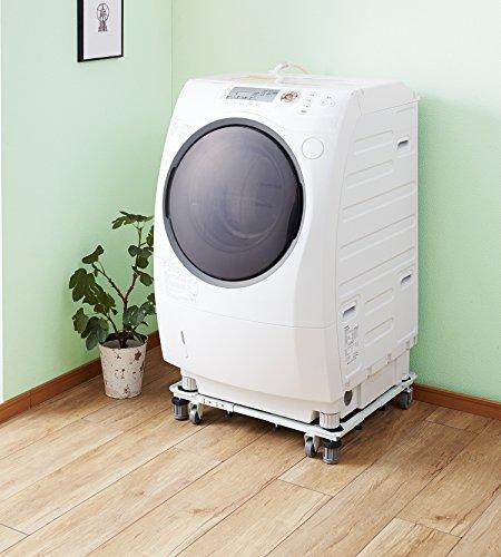 平安伸銅工業角パイプ洗濯機台ホワイト耐荷重150kg(移動時100kg)幅48~78cm奥行き39~61cmDSW-151