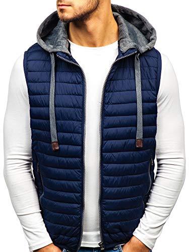 BOLF Gilet – Trapuntato – con Cappuccio – A Zip – Sportivo – di Moda – da Uomo S-West 1252 Blu XXL [4D4]