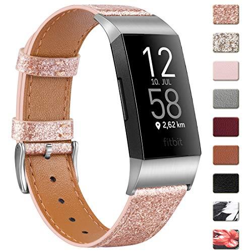 Wanme Kompatibel mit Fitbit Charge 4 Armband Fitbit Charge 3 Armband, Lederarmband Edelstahl Schnalle Ersatzarmbänder für Fitbit Charge 3 und Fitbit Charge 4 (Glitzer Roségold, 5.5