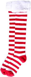 Christmas Holiday Red & White Striped Socks with Faux Fur