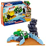 Create your own customizable stunt track filled with jumps, turns, and obstacles! Includes: (4) challenging tracks, (3) jump barrels. Tracks: (1) teeter totter truck tunnel, (2) tumbling tire escapes, (3) bank turn, and (4) steep jump. Includes an ex...