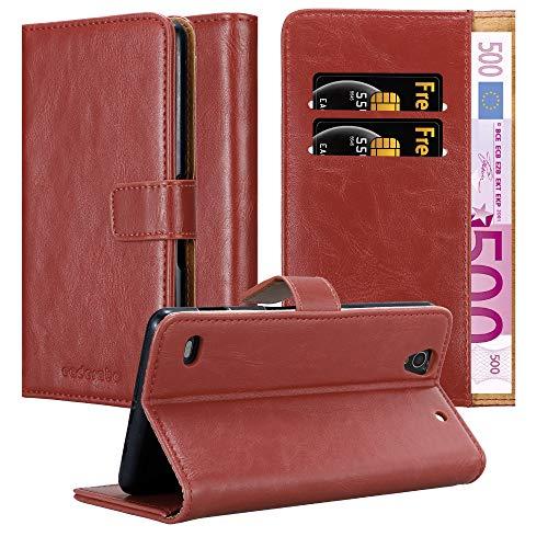 Cadorabo Hülle für Sony Xperia C4 in Wein ROT – Handyhülle mit Magnetverschluss, Standfunktion & Kartenfach – Hülle Cover Schutzhülle Etui Tasche Book Klapp Style
