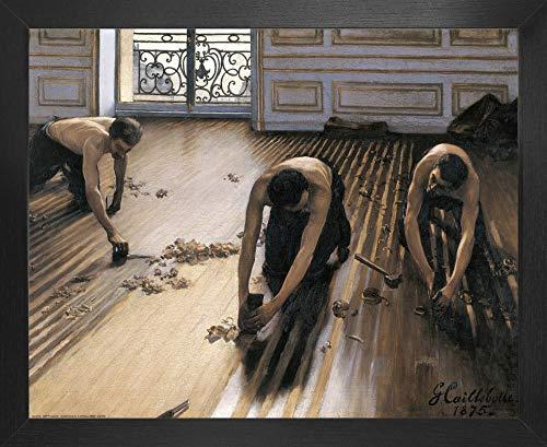 1art1 Gustave Caillebotte Poster Kunstdruck und MDF-Rahmen - Die Parkettschleifer, 1875 (50 x 40cm)
