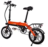 BLKEER Electric Bike Folding E-bike for adults, 14inch Wheel, Pedal Assist Commuter Cycling Bicycle, Max Speed 25km/h, Motor 250W, 6Ah Rechargeable Lithium Battery