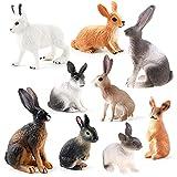 KLOVA Adornos de Conejo, Modelo de Animal de Conejo de simulación de 9 Piezas, estatuilla de jardín en Miniatura, Accesorios de decoración del hogar, Estatua Moderna para niñas y niños